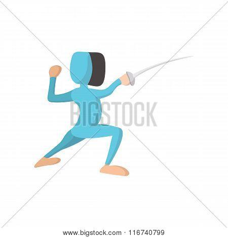Fencing athlete cartoon icon