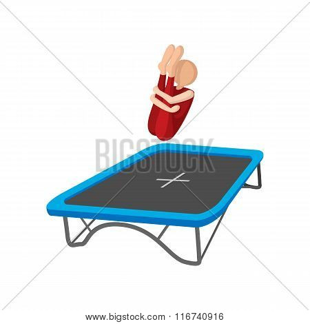 Acrobatics on the trampoline cartoon icon