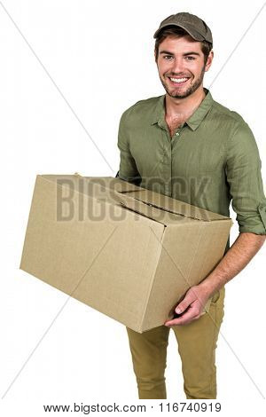 Smiling postman holding package on white screen