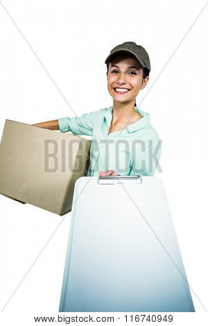 Smart delivery woman holding pack showing clipboard on white screen