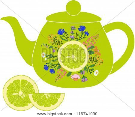 Lime teapot with herbs and lime on a transparent background