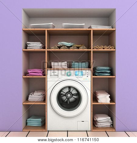 Washing Machine With Built-in Wall Shelves With Towels