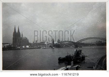 Vintage Photo: View Of The River Rhine In Cologne Center