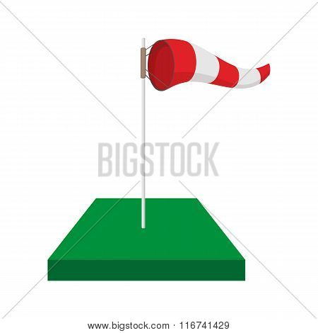 Windsock on golf course cartoon icon