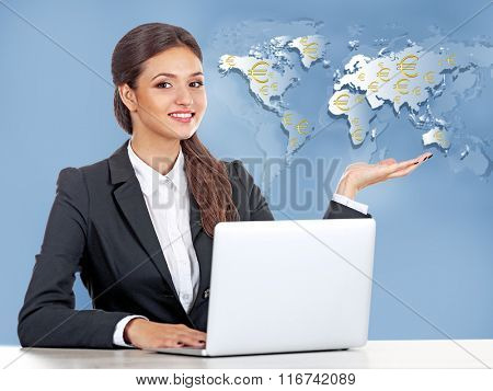 Business success strategy concept.Business lady with laptop on world map background