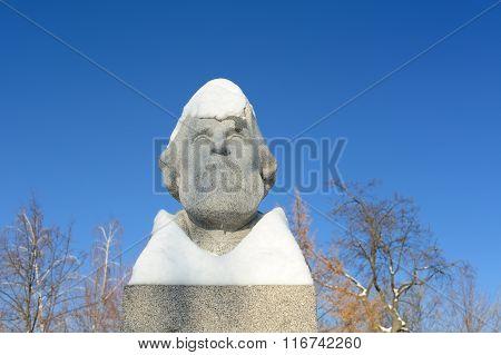 Orel, Russia - January 10, 2016: Ivan Turgenev's Monument In Orel, Russia Under Snow
