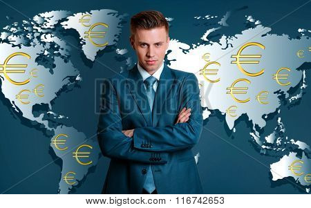 Business success strategy concept. Portrait of businessman on world map background