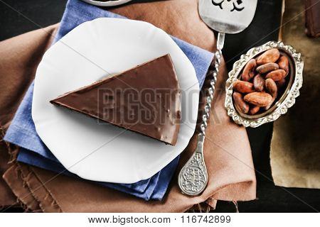 Piece of frosting chocolate cake on white plate