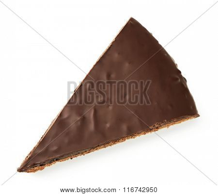 Piece of frosting chocolate cake, isolated on white