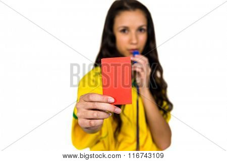 Supporting woman showing red card on white screen