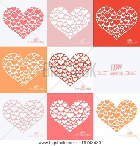 Happy Valentines day cards. Set of heart sign symbols. Heart of many hearts.