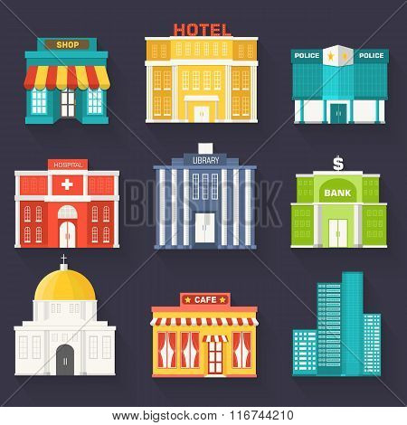 Flat colorful vector sity buildings set. Icon background concept design.  emplate for website and mo