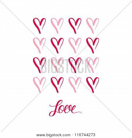 Hand drawn hearts symbols with inscription LOVE.