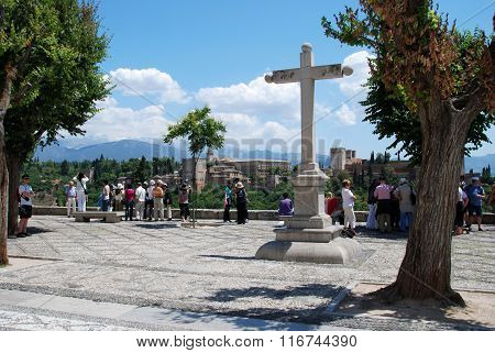 Stone Cross and Alhambra Palace, Granada.