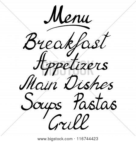 Menu headline, handmade brush lettering
