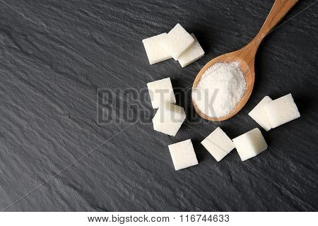 Pile of sugar cubes on the table