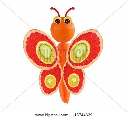 Creative Food Concept. Funny Little Butterfly Made Of Fruits, Vegetables
