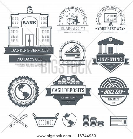 Business set label template of emblem element for your product or design, web and mobile application