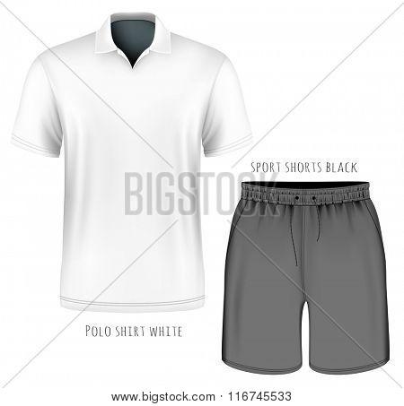 Men's short sleeve white polo shirt and black sport shorts. Vector illustration. Fully editable handmade mesh.