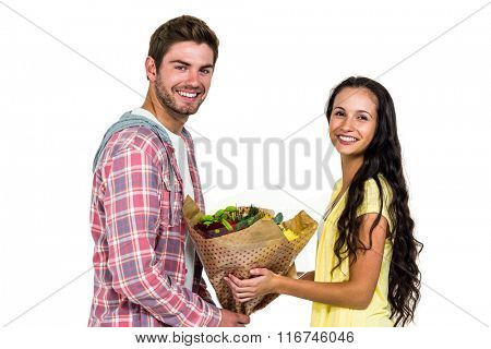 Man offering bouquet to his girlfriend on white screen