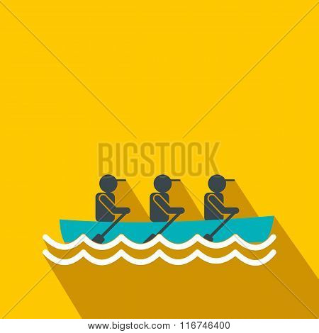 Rowing race flat icon
