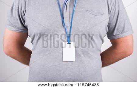 Business Man With Employee Badge