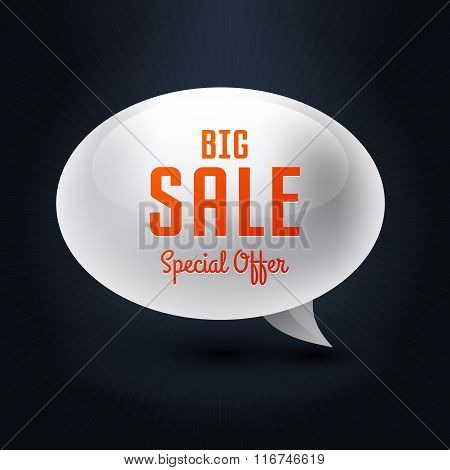 Vector Element Bubble Big Sale, Banner With Text Big Sale On Black Background