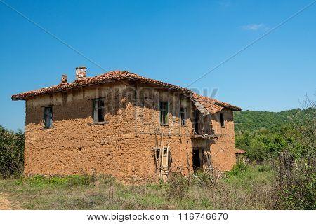 Old Abandoned Rural Adobe House