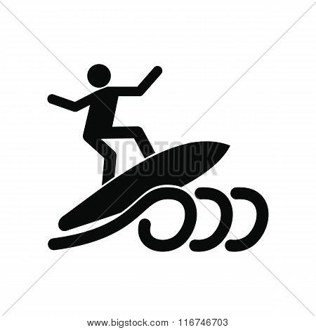Surfing black simple icon