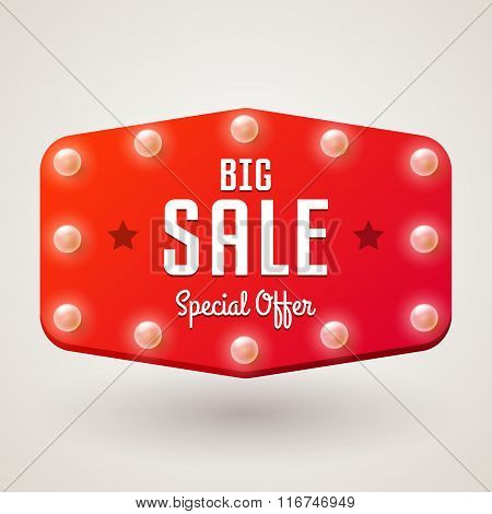 Billboard In Retro Style With Bulbs, Vector Banner With Text Big Sale
