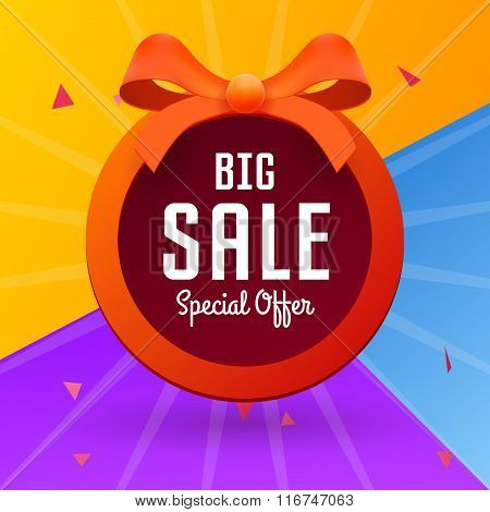 Big Sale Banner With Red Tape On Colorful Background