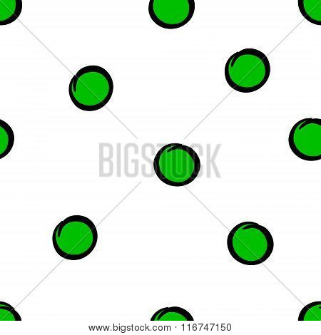 Cute seamless pattern with green circles