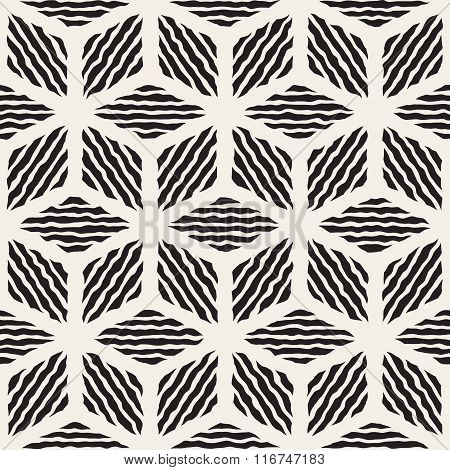 Vector Seamless Black And White Hand Painted Line Geometric Rhombus Stripes Pattern