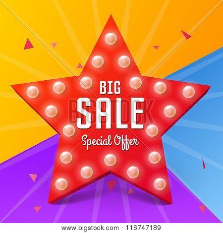 Vector Sale Retro Light Star, Big Sale Banner On Colorful Background