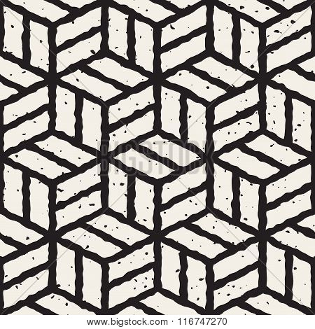 Vector Seamless Black And White Hand Painted Line Geometric Cubic Pavement Pattern