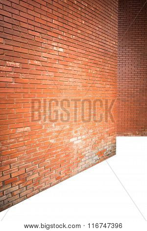 Brick Wall Texture Background With Empty Floor