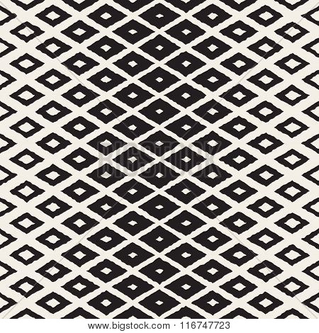Vector Seamless Black And White Hand Painted Halftone Gradient Rhombus Pattern