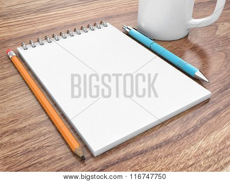 Notepad On A Table