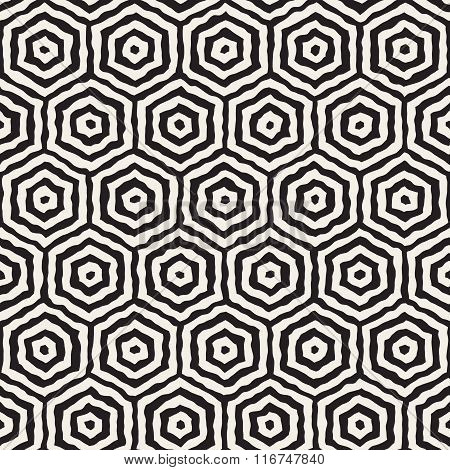 Vector Seamless Black And White Hand Painted Concentric Hexagon Line Geometric Honeycomb Pattern