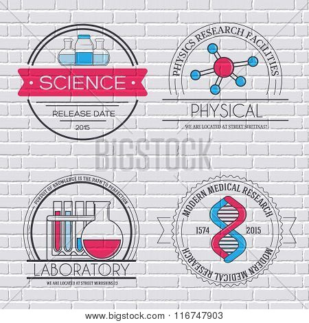Science set label template of emblem element for your product or design, web and mobile applications