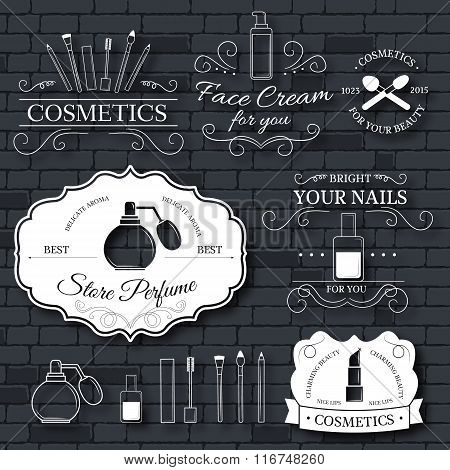 cosmetics set label template of emblem element for your product or design, web and mobile applicatio