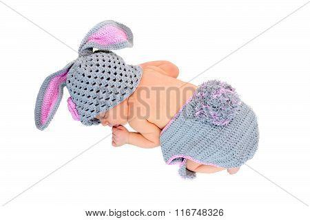 Newborn Baby Sleeping In Rabbit Costume.
