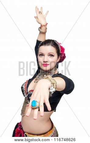 Beautiful Exotic Belly Tribal Dancer Woman. Focus On Hand
