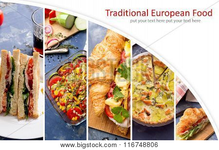European Food Photo Collage