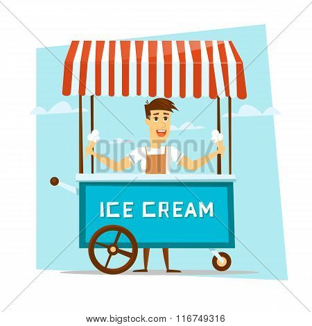 Happy smiling ice cream seller with cart.