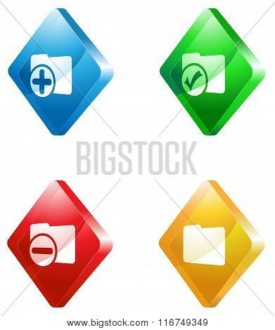 office glass transparent color icon set