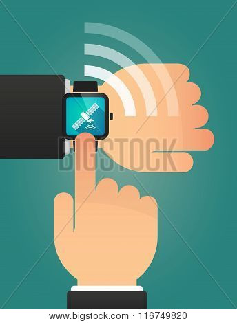Hand Pointing A Smart Watch With A Satellite
