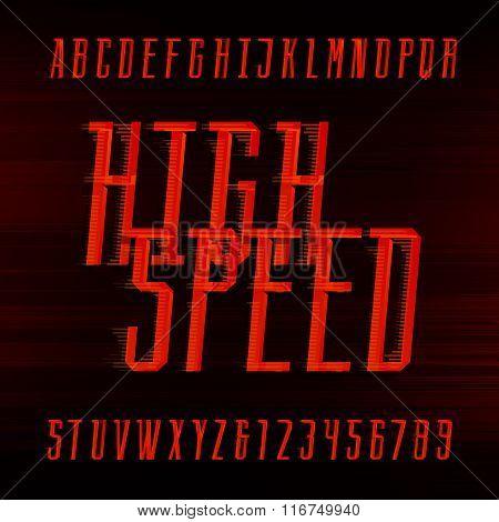 Speed alphabet vector font