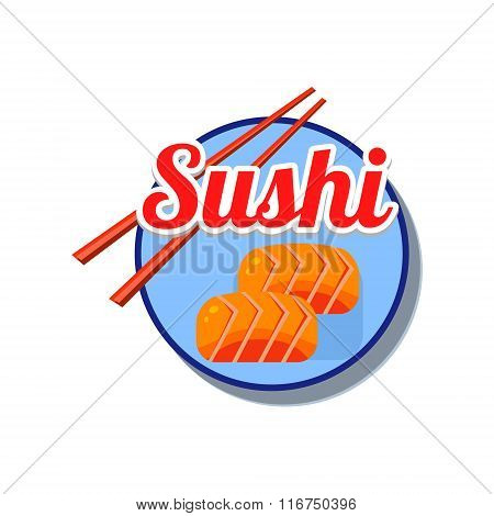 Sushi Emblem. Vector Illustration