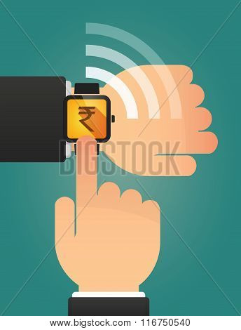 Hand Pointing A Smart Watch With A Rupee Sign